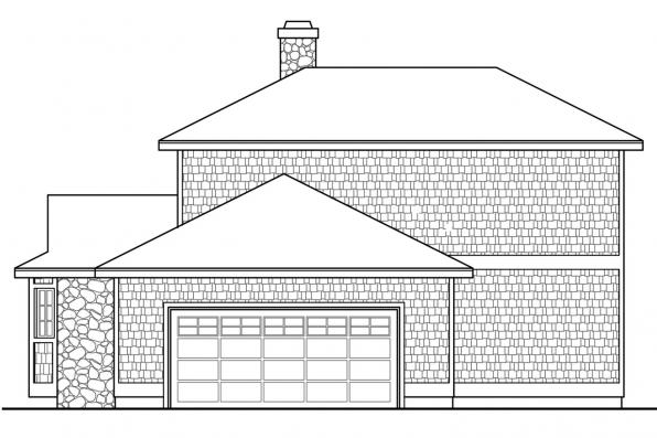 Vacation Home Plan - New Haven 10-611 - Left Elevation