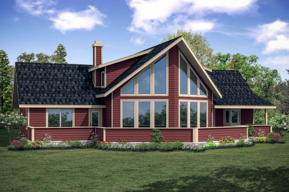 View Lot House Plan - Alpenview 31-003 - Rear Elevation