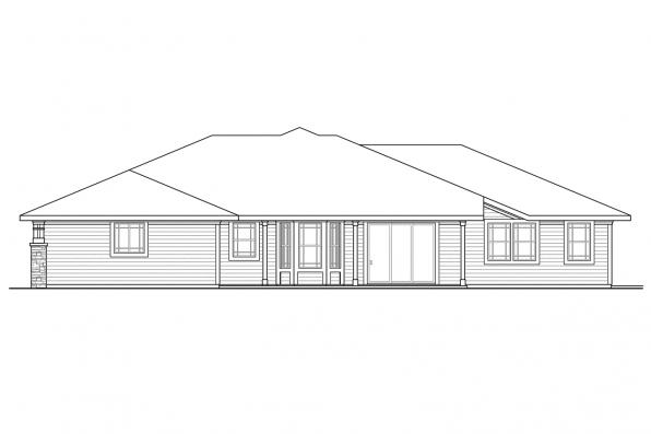 View Lot House Plan - Northshire 30-808 - Rear Elevation