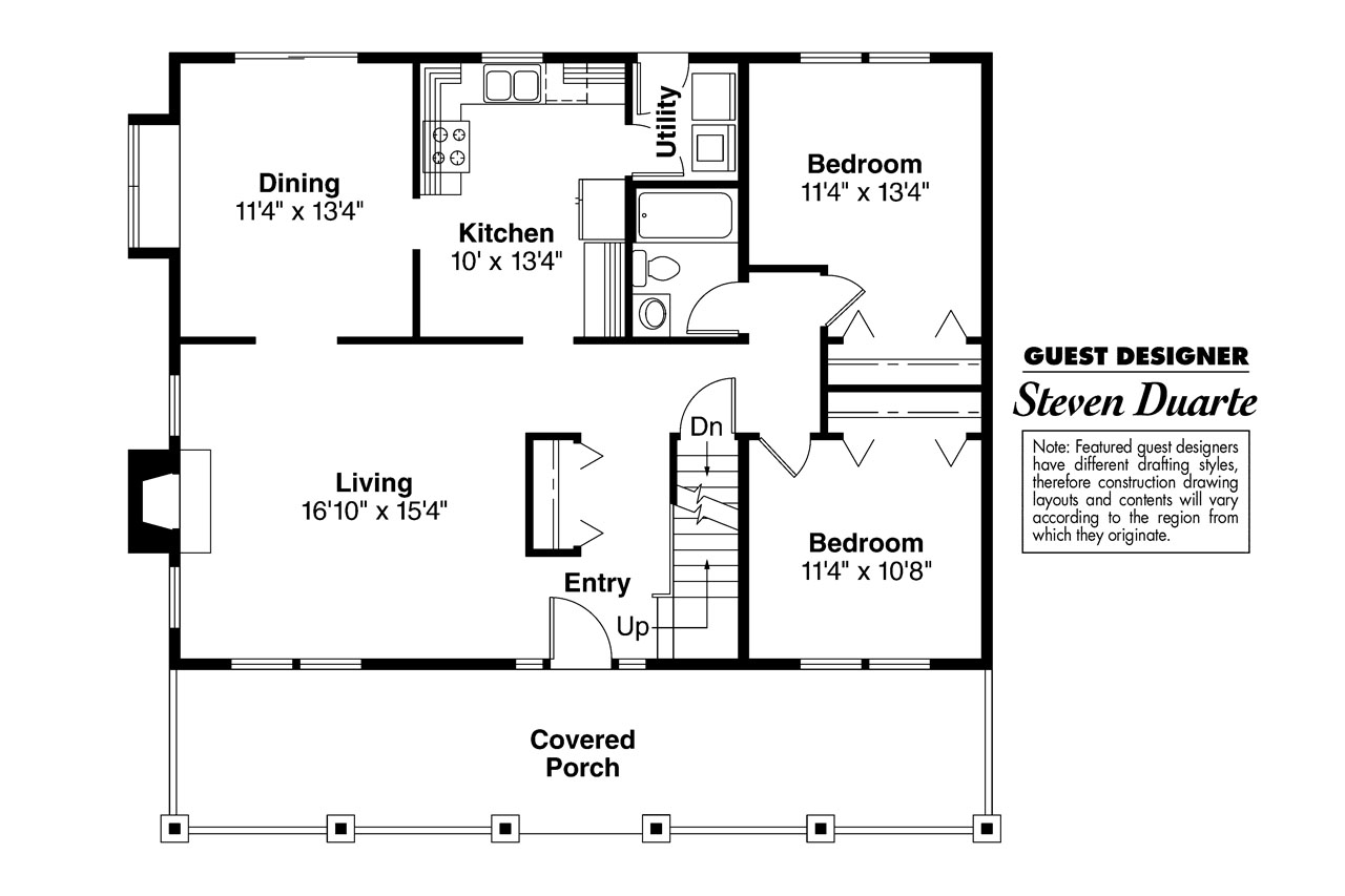 Bungalow House Plan   Alvarado 41 002   1st Floor Plan ...