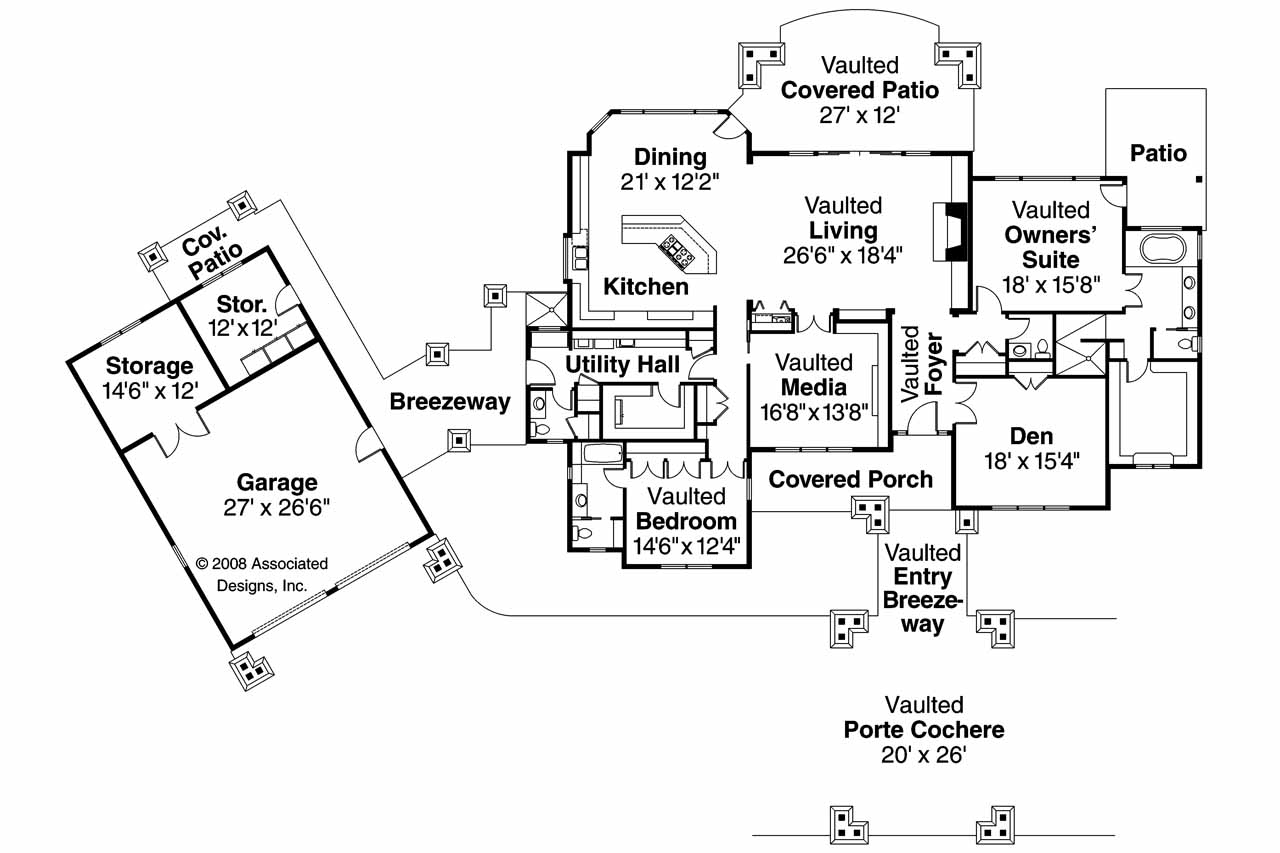 One Story Cabin Floor Plans Craftsman House Plans Arborgate 30 654 Associated Designs
