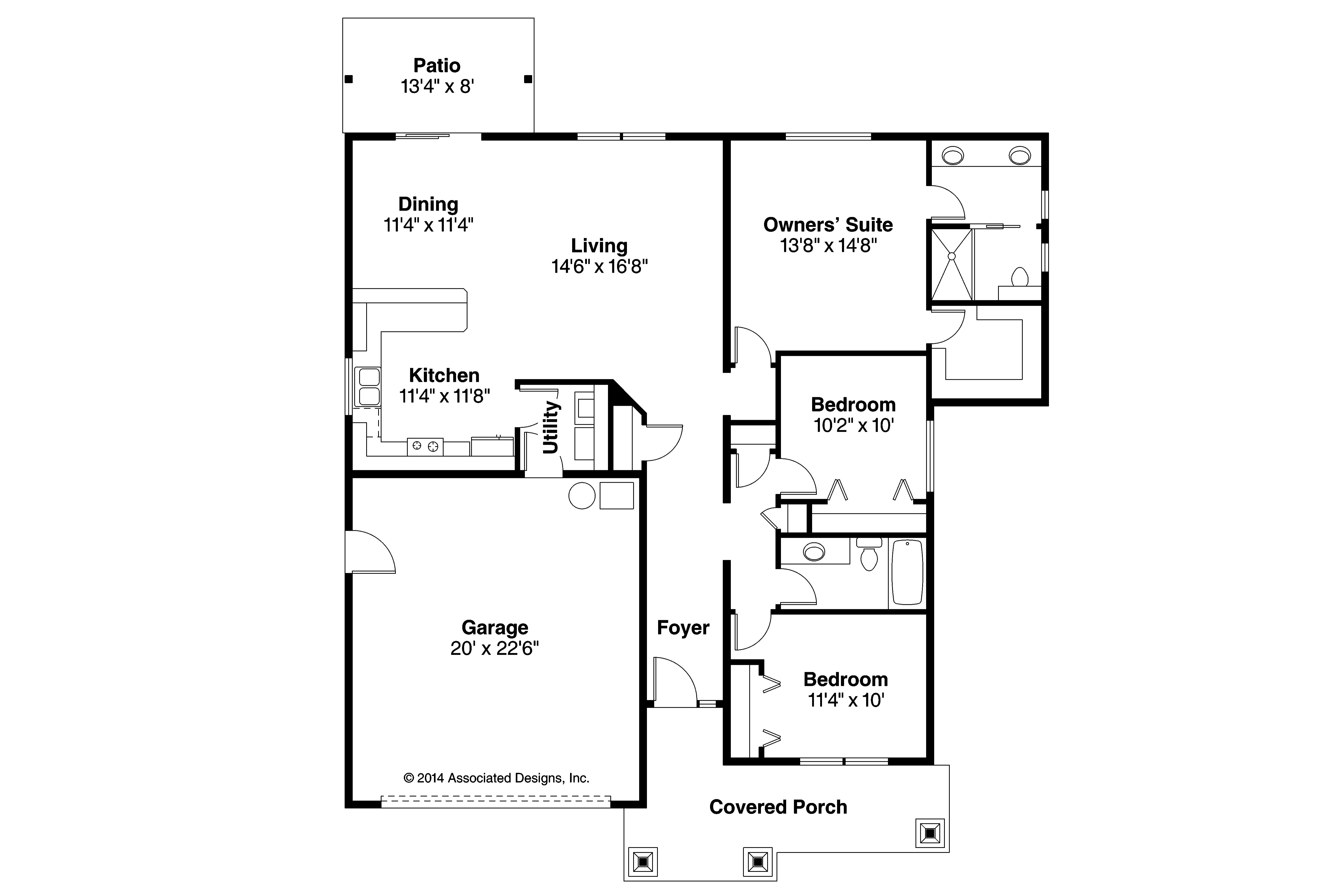 Craftsman house plans ravenden 30 712 associated designs for House floor plans com