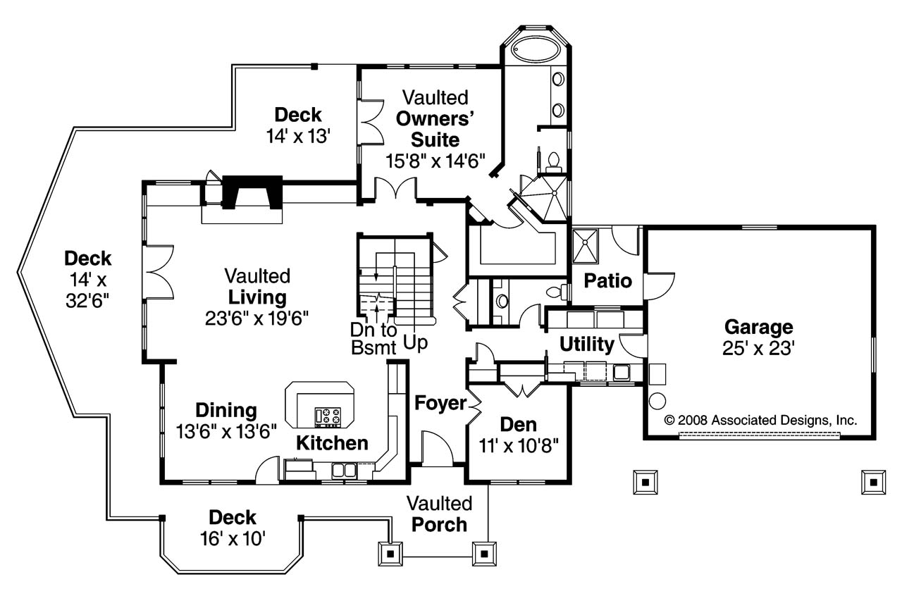 Floor Plan With Garage Craftsman House Plans Stratford 30 615 Associated Designs