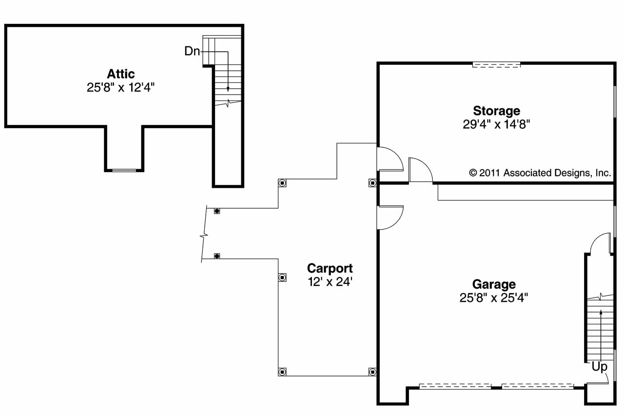 Car Garage Floor Plan: 2 Car Garage 20-075