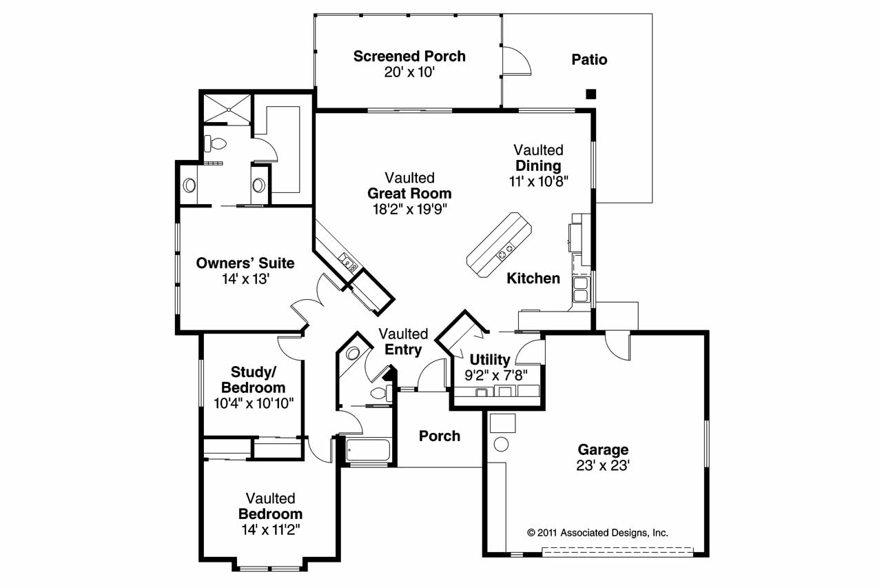 Open Kitchen Floor Plans Designs Mediterranean House Plans Calabro 11 083 Associated