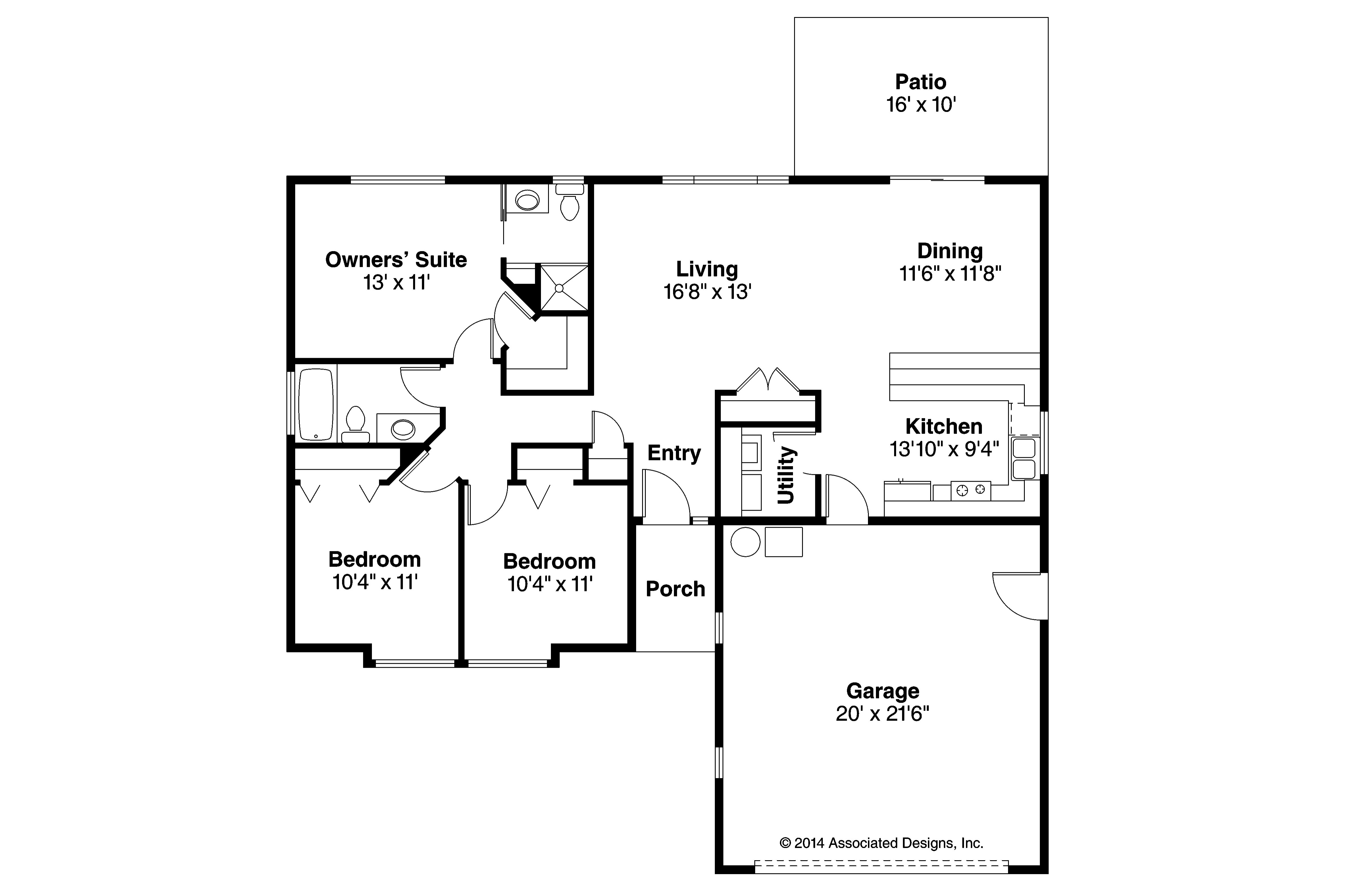 Ranch house plans halsey 30 847 associated designs for House floor plans com