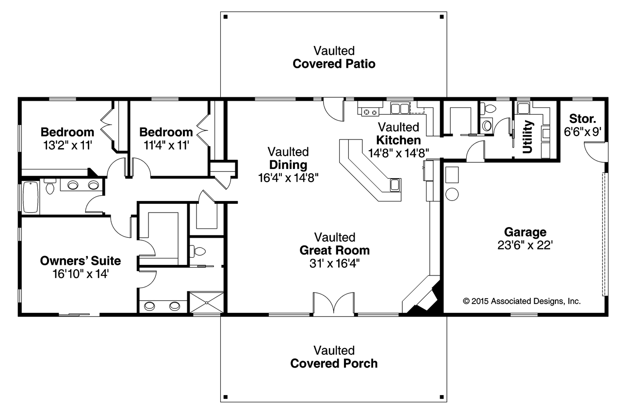 Ranch house plans ottawa 30 601 associated designs for Three bedroom ranch floor plans