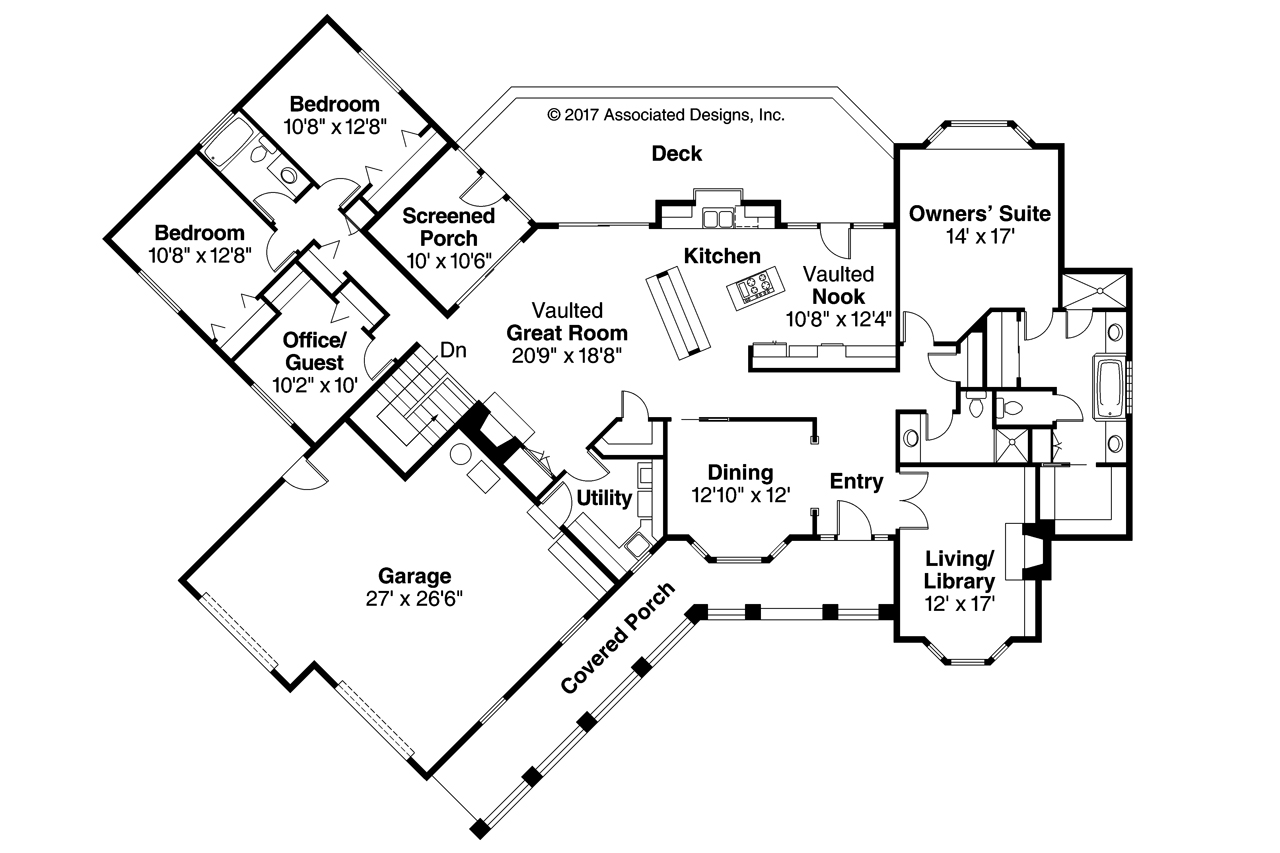 Ranch House Plans - Saginaw 10-251 - ociated Designs on