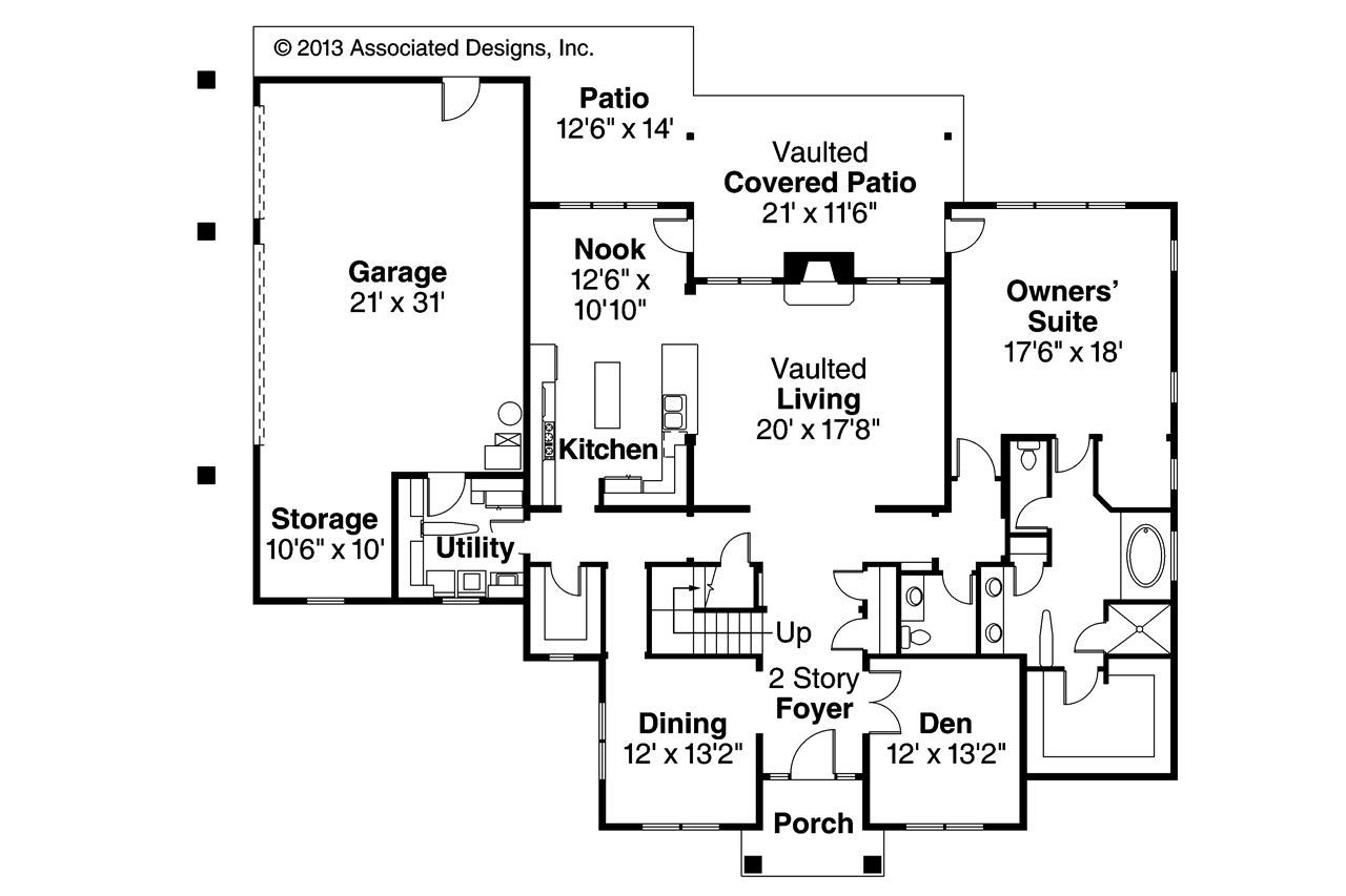 Traditional house plans fairbanks 30 648 associated for Traditional open floor plans
