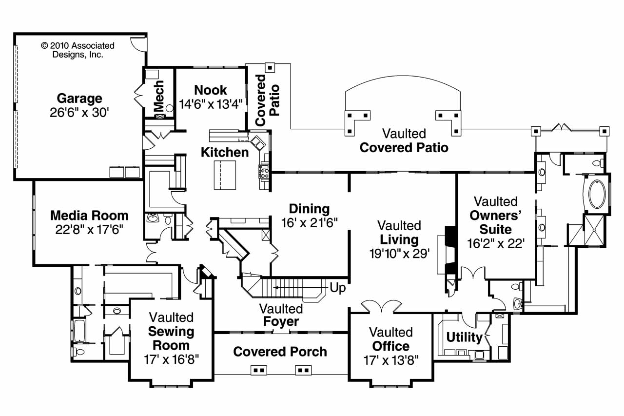 Traditional House Plan   Monticello 30 734   1st Floor Plan ...