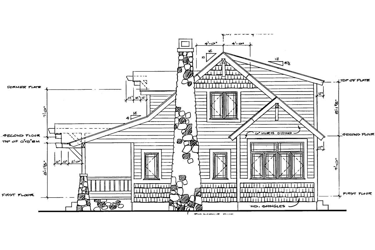 N Bungalow Elevation Plan Roof : Craftsman house plans absecon associated designs