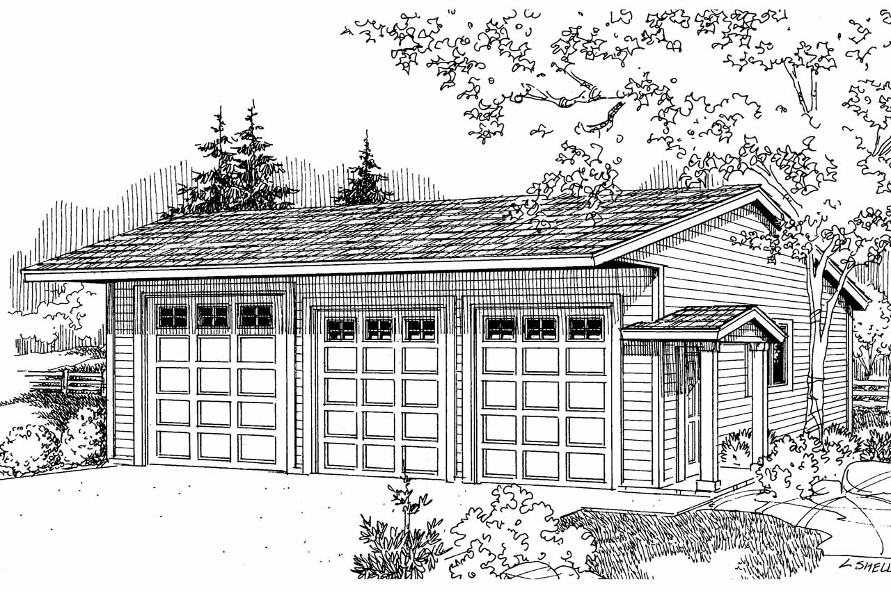 Traditional House Plans 6 Car Rv Garage 20 038