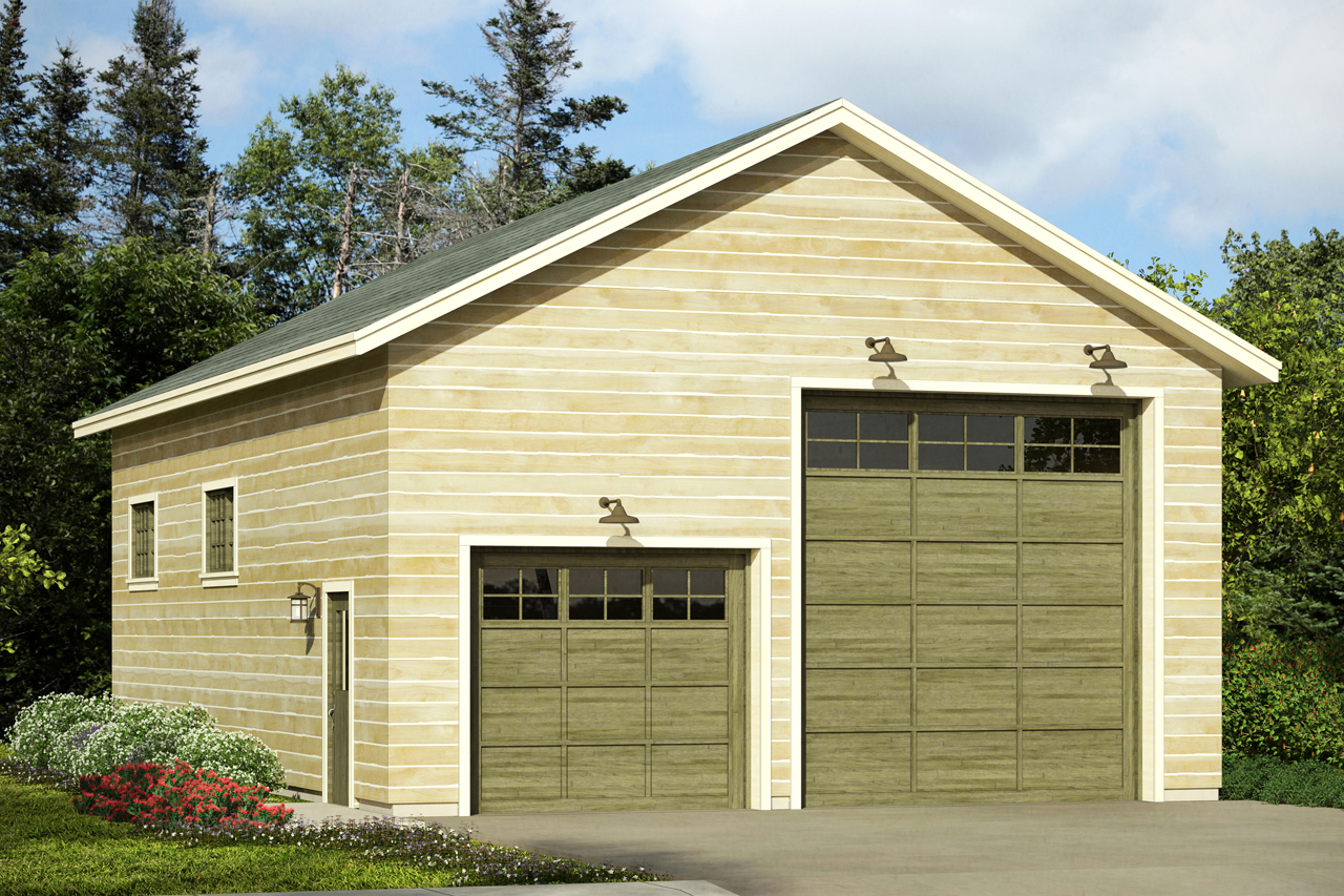 Front Elevation With Garage : Traditional house plans rv garage associated
