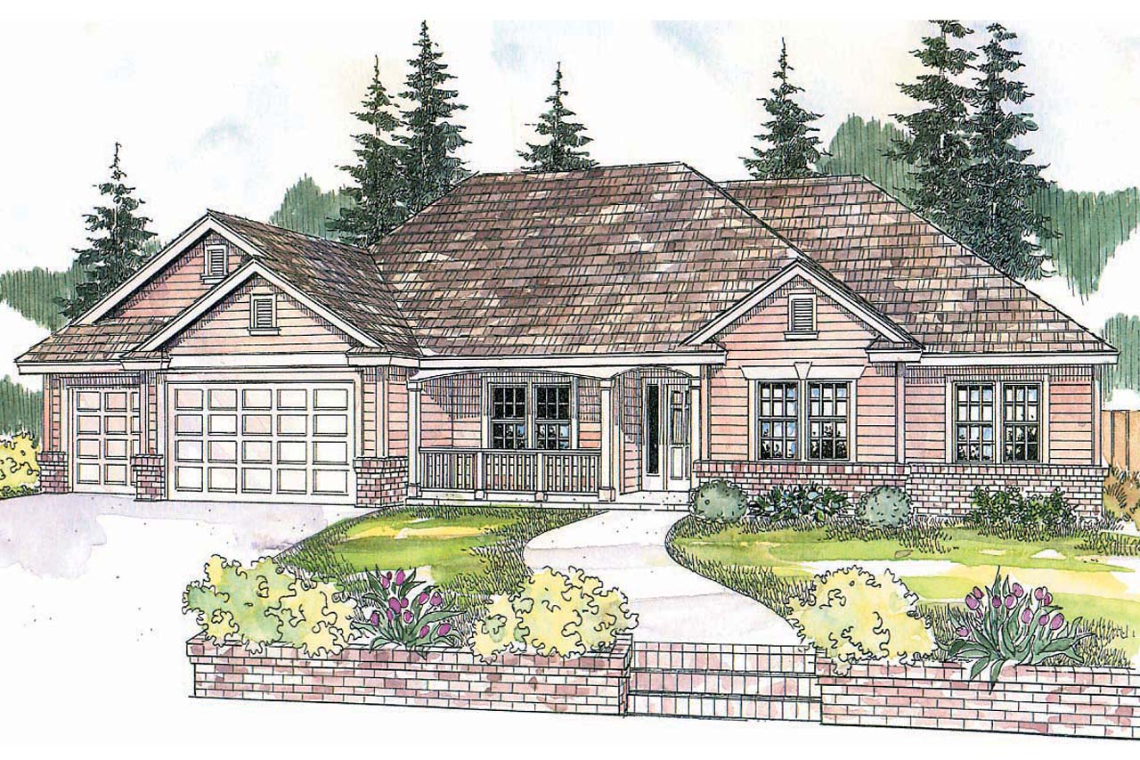 Front Elevation With Plan : Ranch house plans pleasanton associated designs