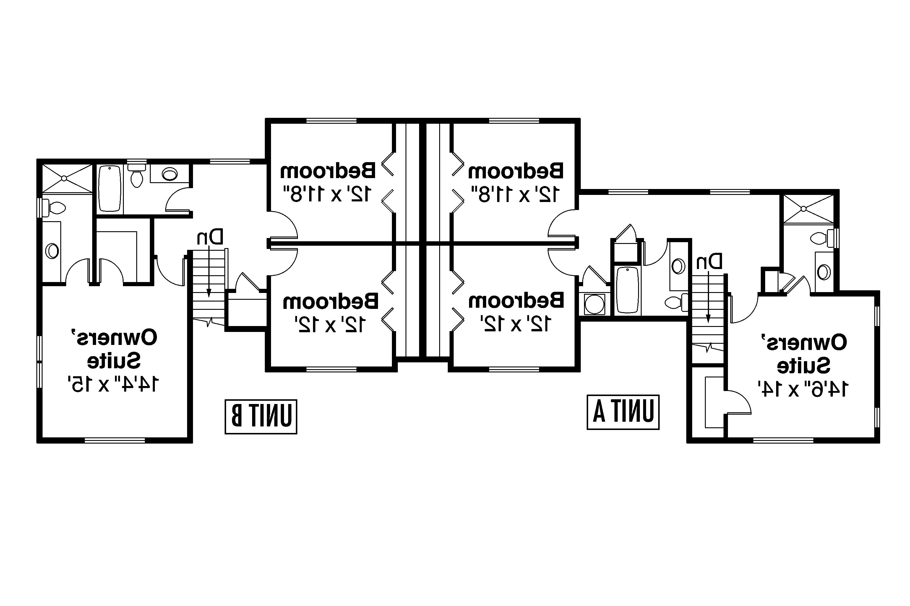 country_duplex_plan_warrendale_60-036_flr2_0 House Plan Unit Up Stairs on small country house plans, great room house plans, two story house plans, kitchen house plans, mud house plans, texas style house plans,