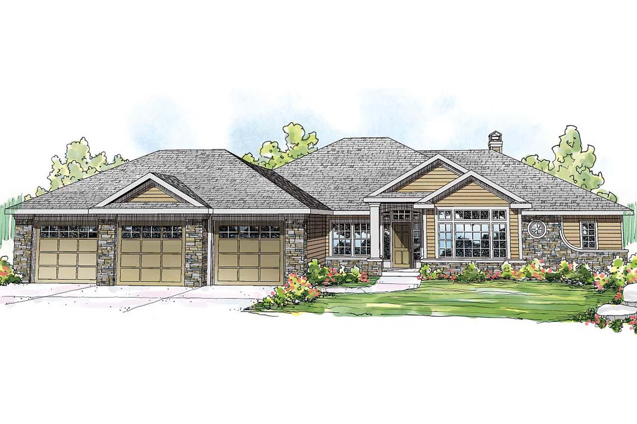 Front Elevation For House Ranch House Plans Meadow Lake 30 767 Associated Designs