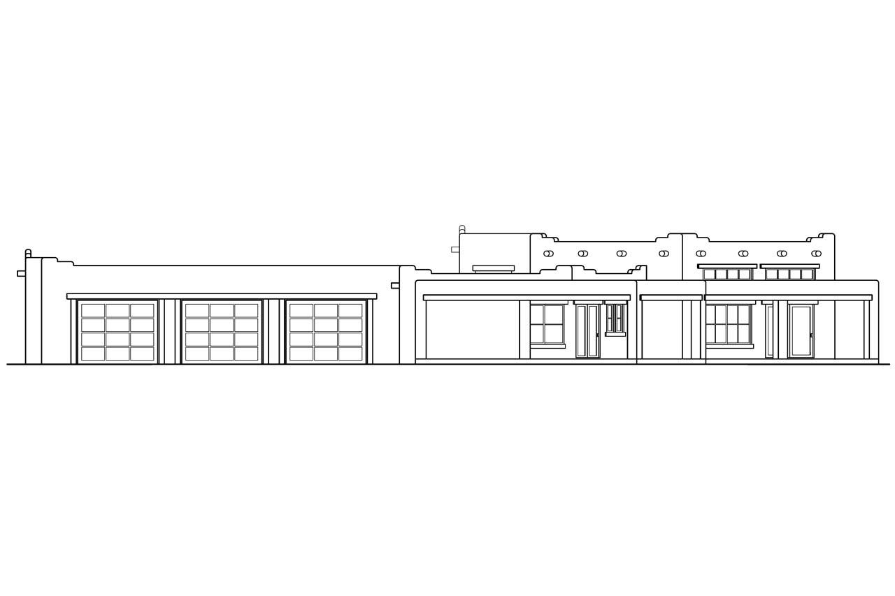 Elevation Plan In Spanish : Southwest house plans santa fe associated designs