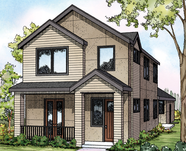 Eastlake 30-869 - Townhome - Contemporary Home Plan