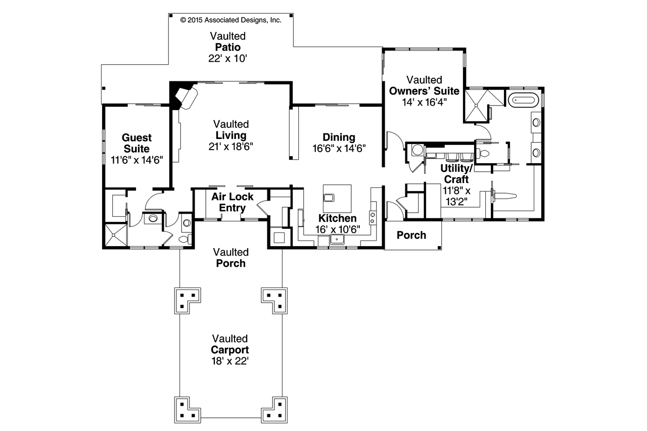 2 Bedroom House Plan, Tetherow 31-019, Craftsman House Plan, Home Plan