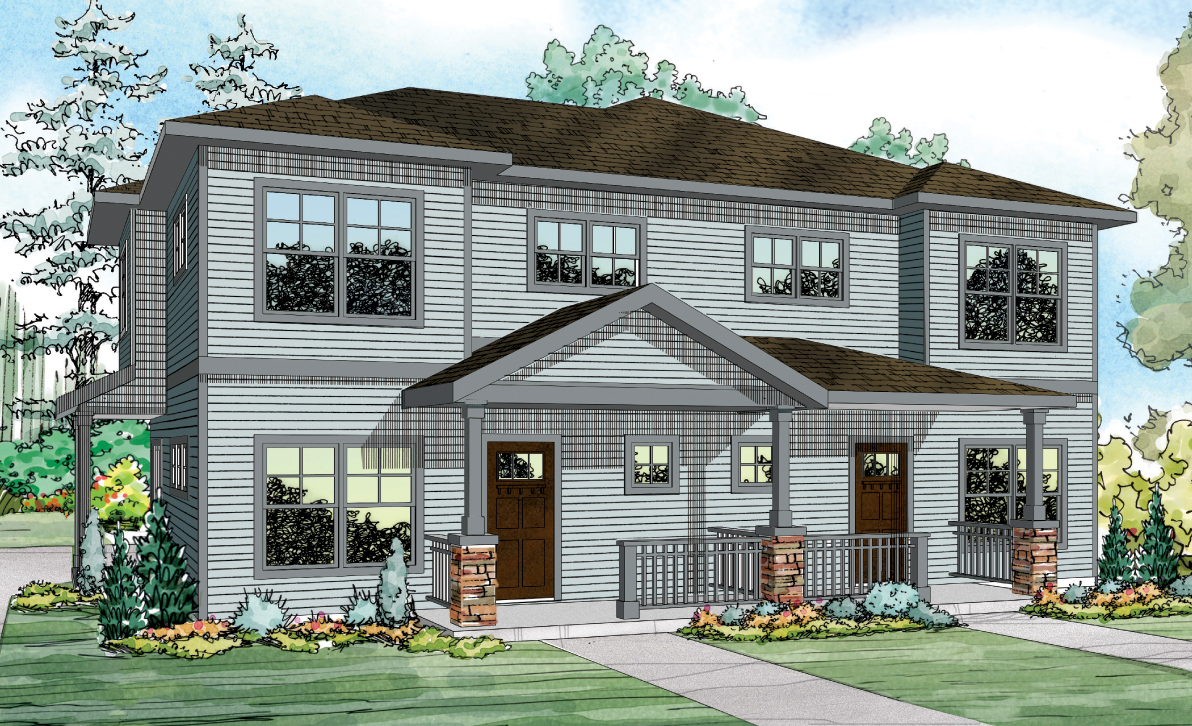 Parkrdige 60-035, Duplex Plan, Country-style House Plan