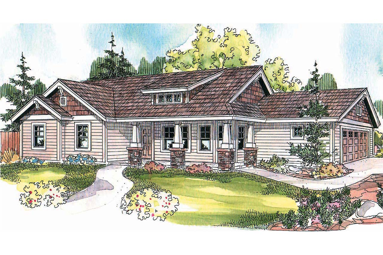 Bungalow House Plan, Ranch Home Design, Casual Home Design