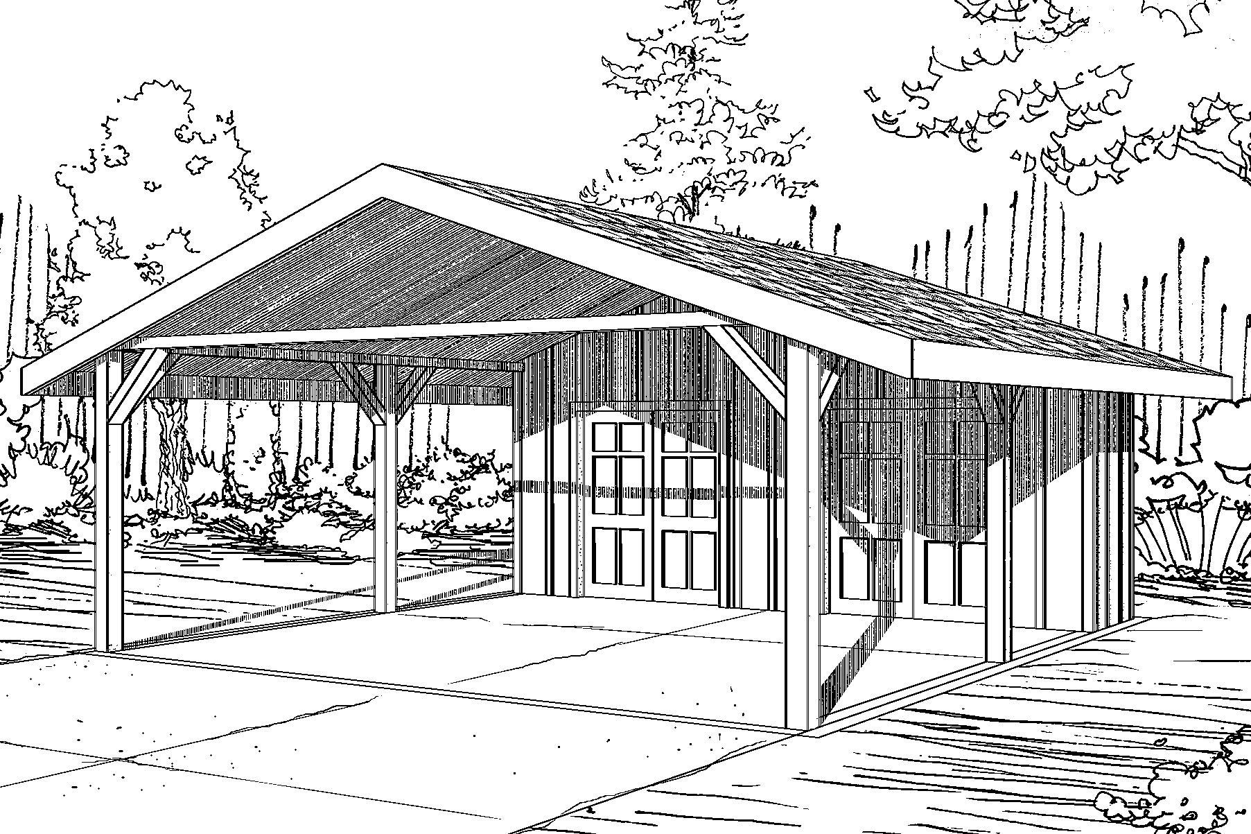 traditional house plans - carport 20-094