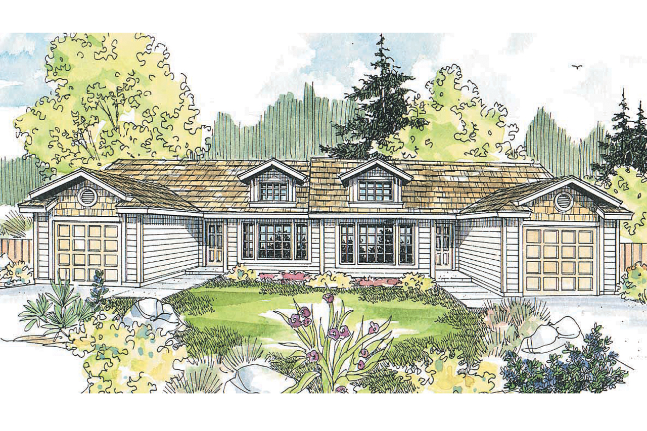 Featured House Plan of the Week, Duplex Plan, Multi-Family Home Plan, Craftsman Style Duplex