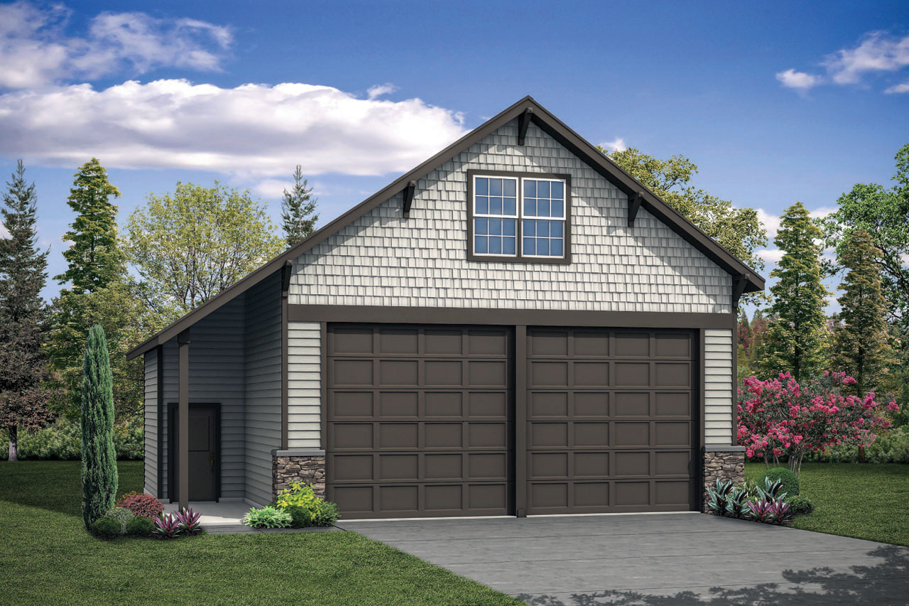 Front Elevation Garage : Garage w attic associated designs