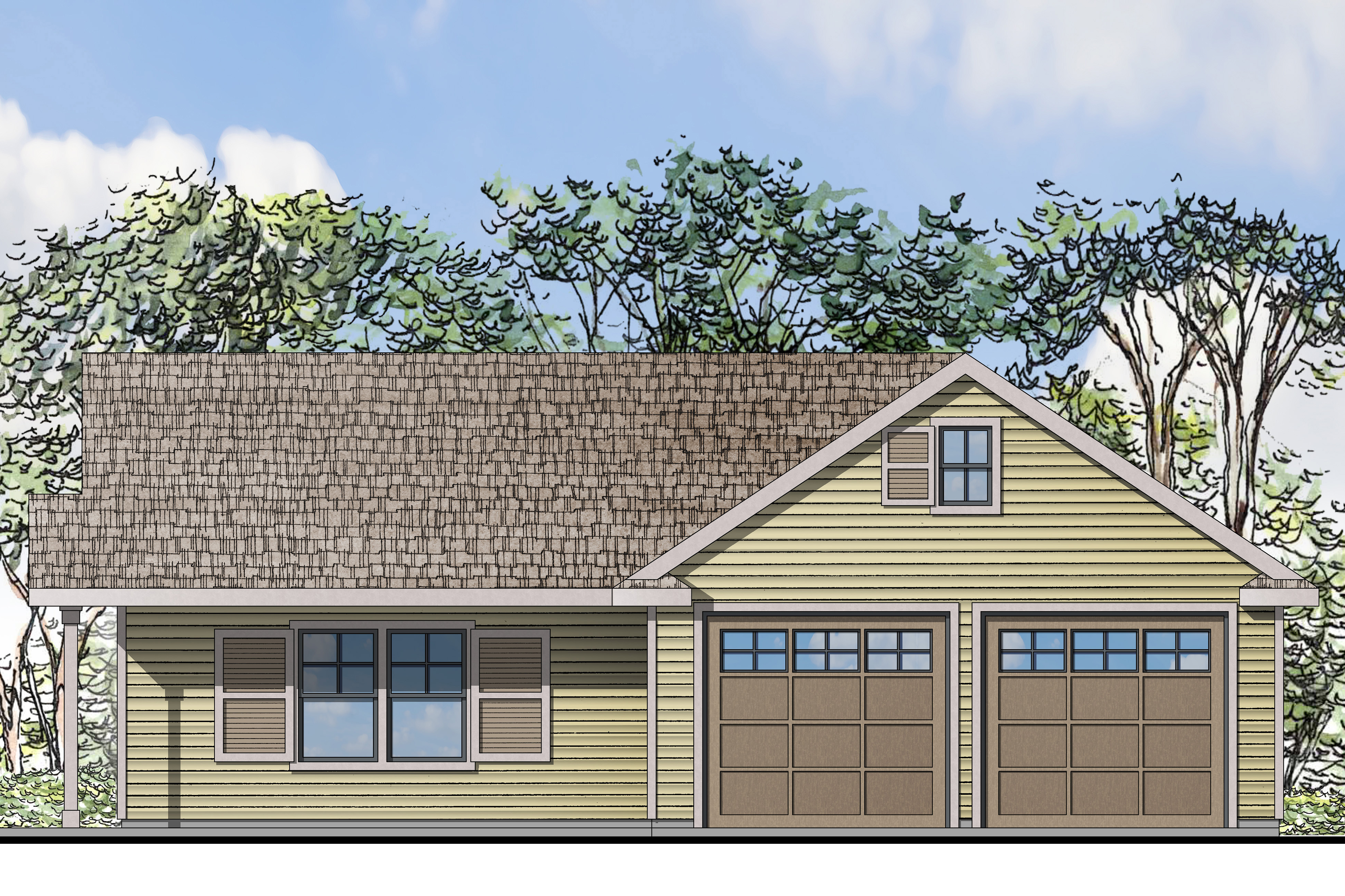 Traditional House Plans Garage W Living 20 116