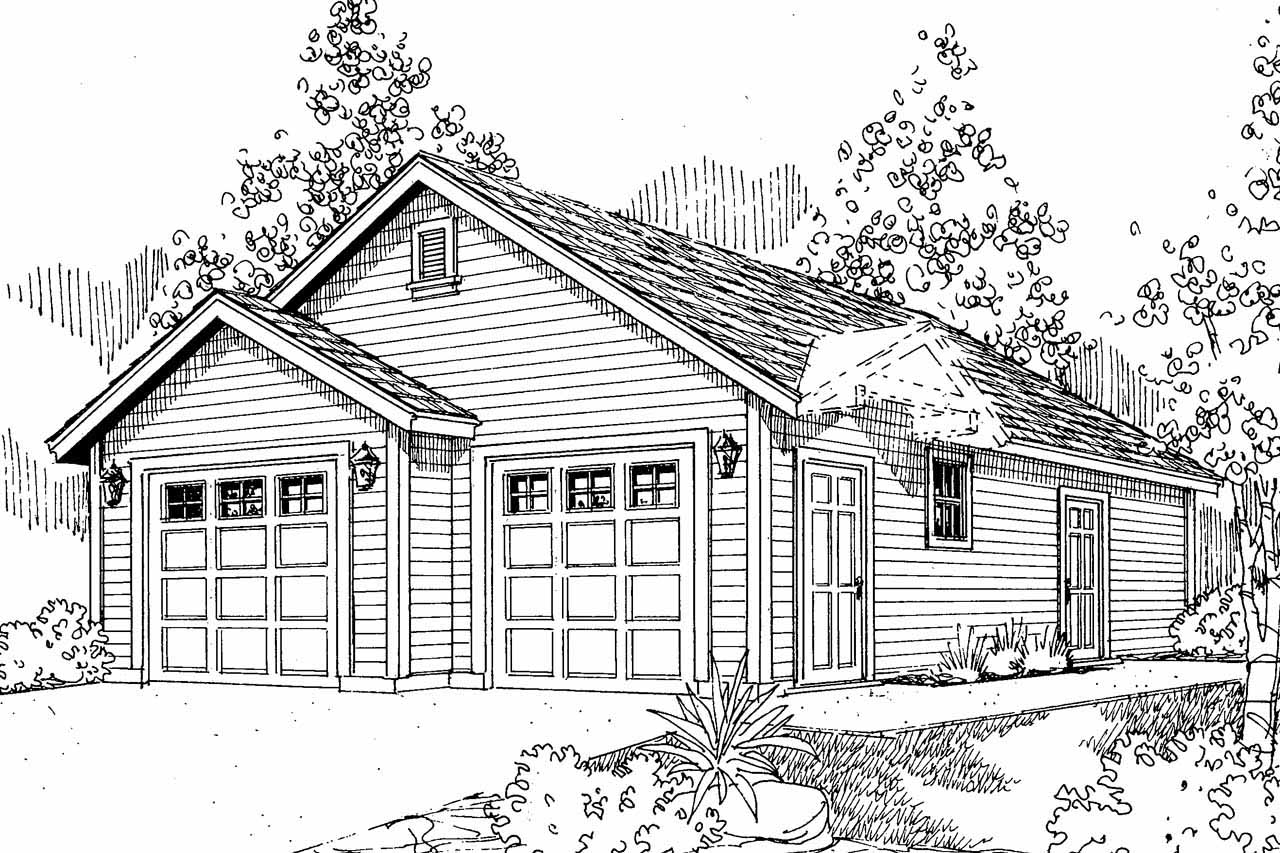 Front Elevation With Garage : Traditional house plans garage w shop
