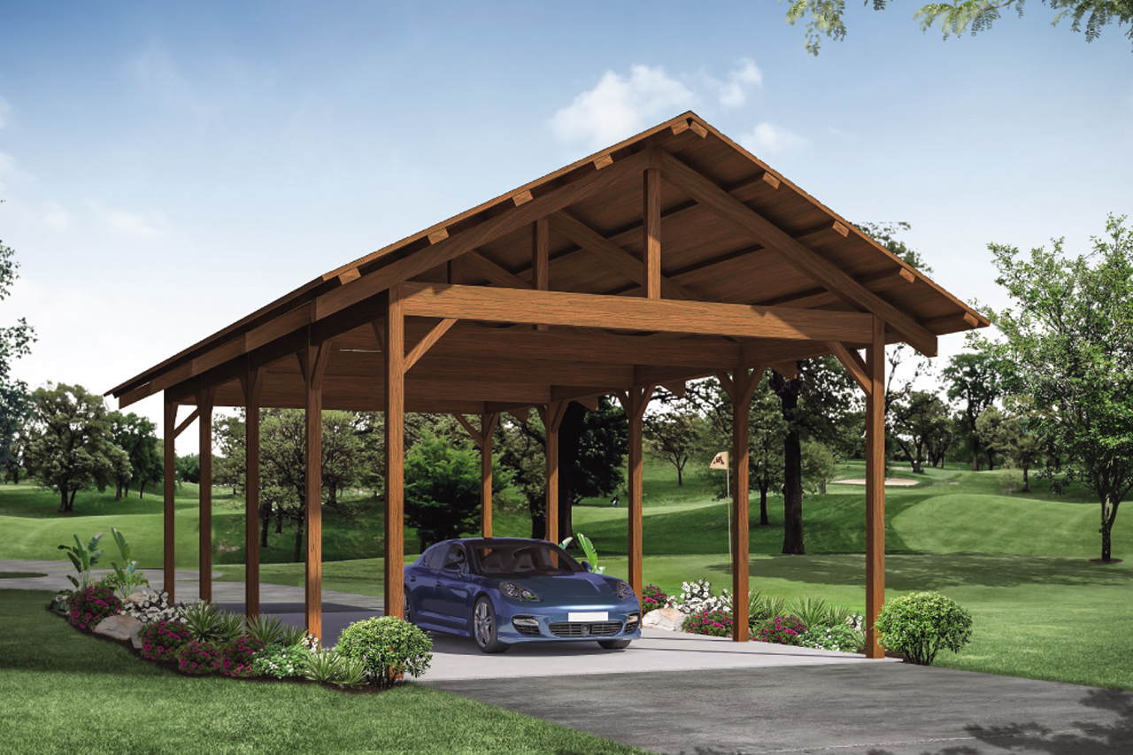 Lodge Style Carport Plan 20-229 - Front Elevation
