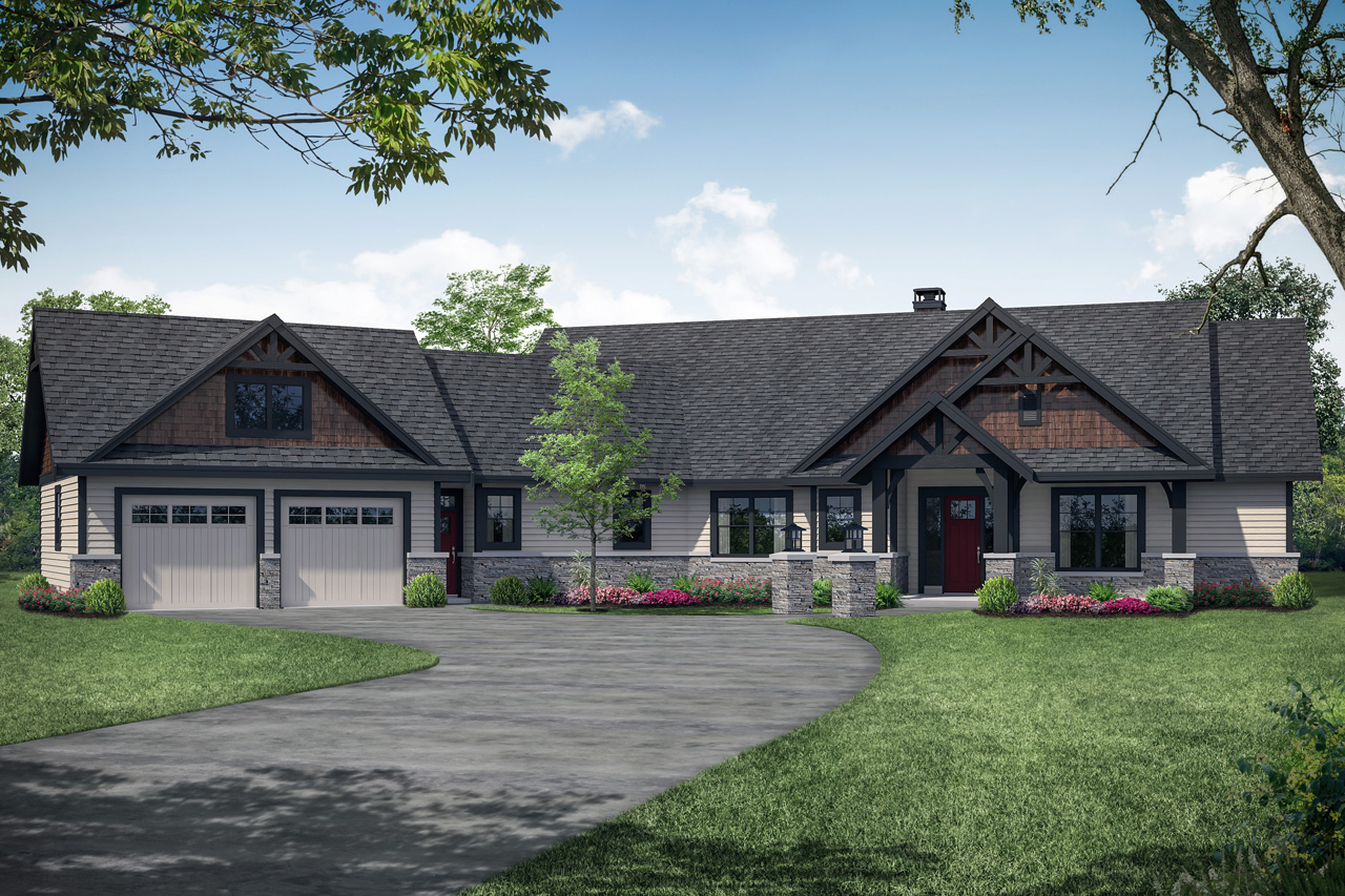 Lodge Style House Plan - Myrtlewood 31-128 - Front Exterior