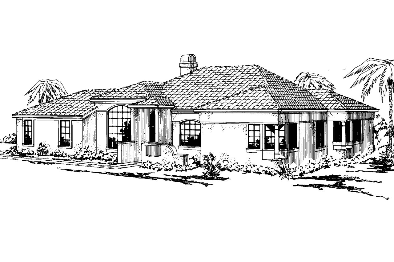 Mediterranean House Plan - Carrizo 11-010 - Front Elevation