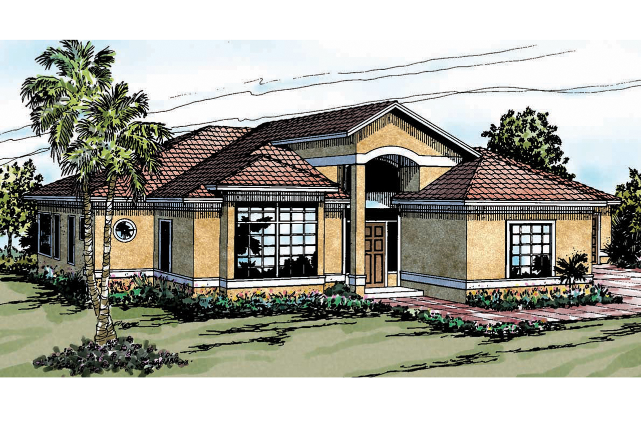 Open Floor Plan House Plans One Story Mediterranean House Plans Odessa 11 021 Associated Designs