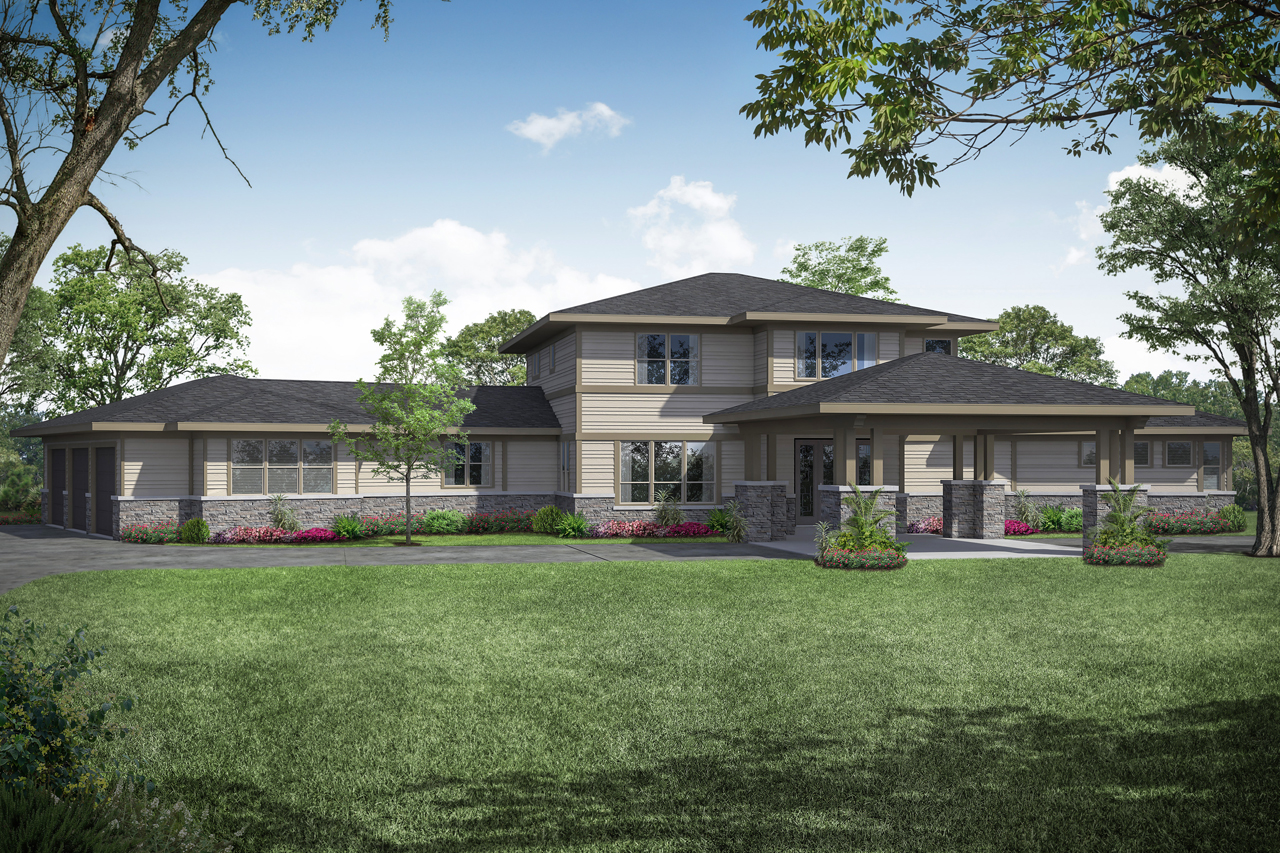 Prairie-Style House Plan - Patagonia 31-145 - Front Elevation