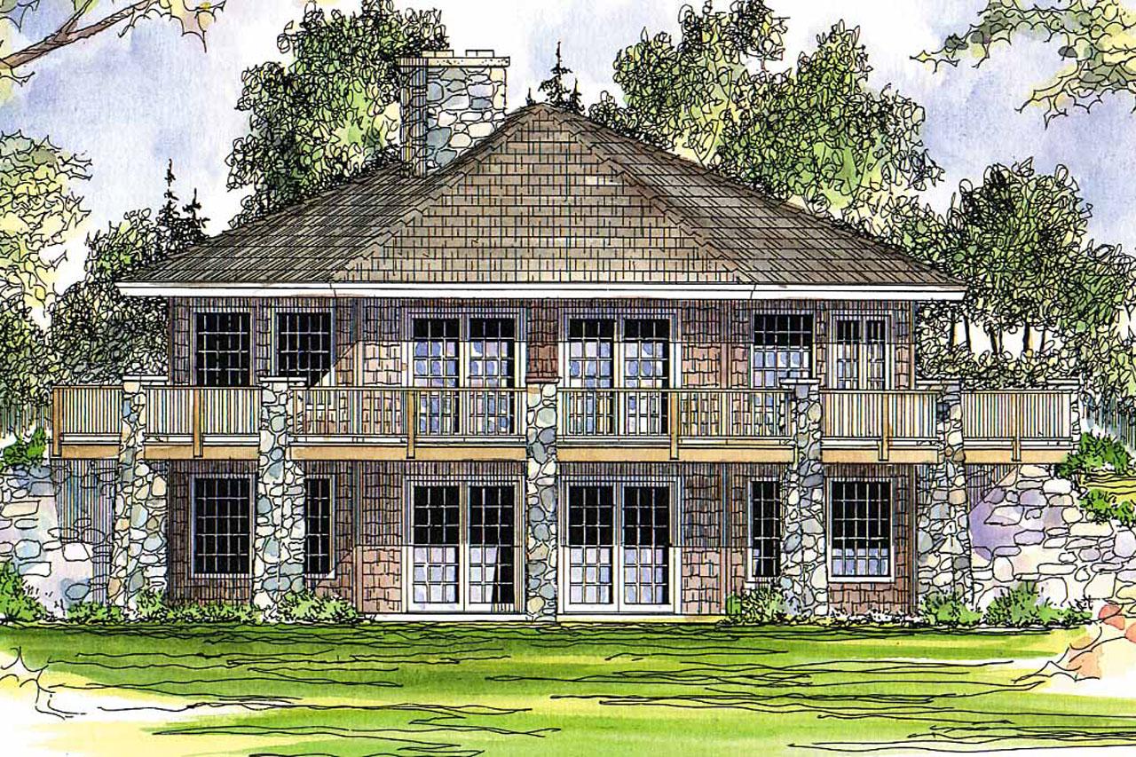 Prairie style house plan grandview 10 249 rear elevation