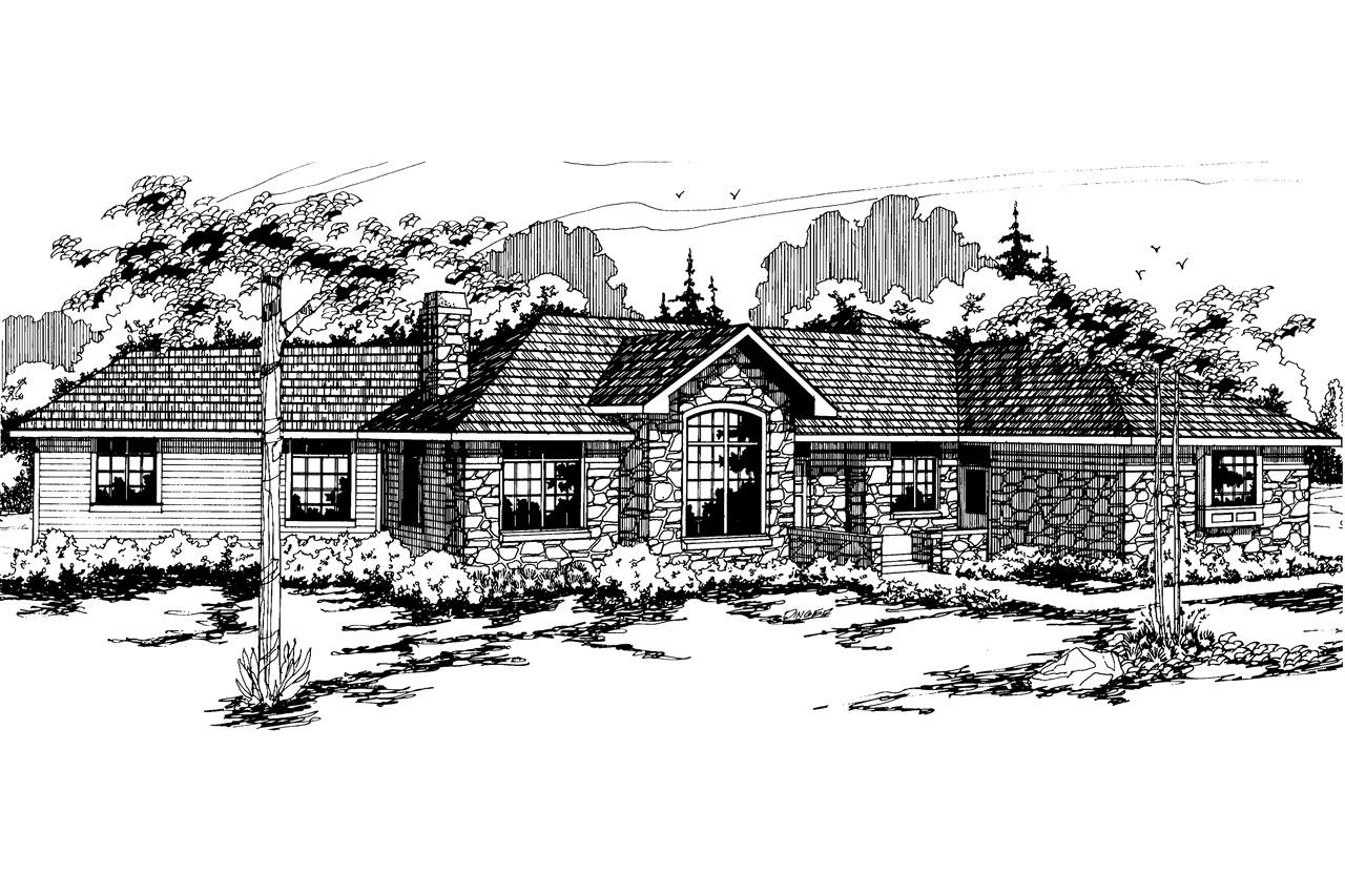 Ranch House Plan - Stonecrest 10-054 - Front Elevation