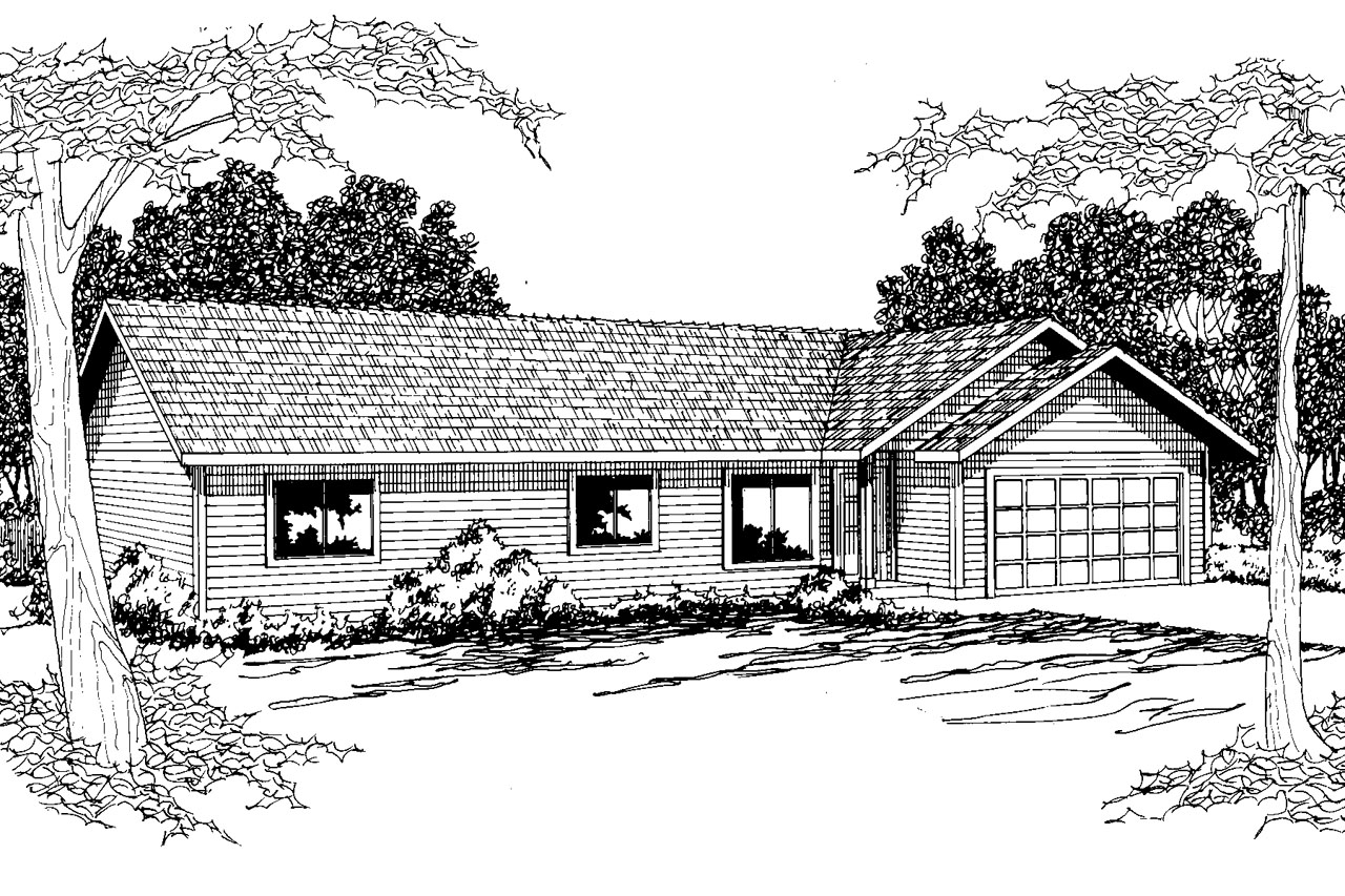 Ranch House Plan - Weston 30-085 - Front Elevation
